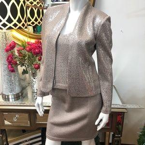 St. John Evening Taupe Shimmer Sequin skirt Set
